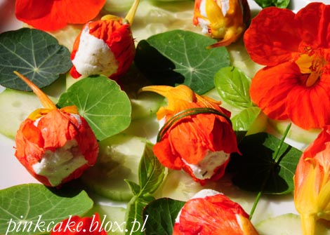 Nadziewane nasturcje, stuffed nasturtium, filled nasturtium flowers, nadziewane kwiaty nasturcji, edible flowers, jadalne kwiaty